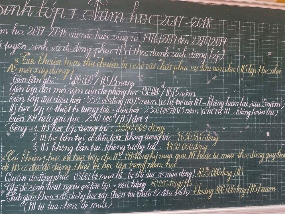 Các khoản thu của học sinh lớp 1 Trường Tiểu học Phú Xá. Ảnh: PHCC