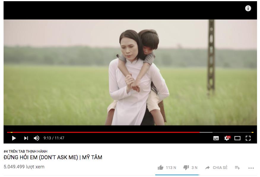 MV mới của Mỹ Tâm bị tụt xuống hạng 4 trending youtube.