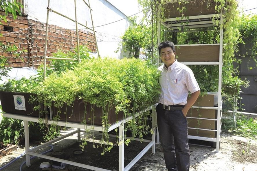 Anh Trần Công Doãn bên mô hình trồng rau sạch của mình. Ảnh: D.T