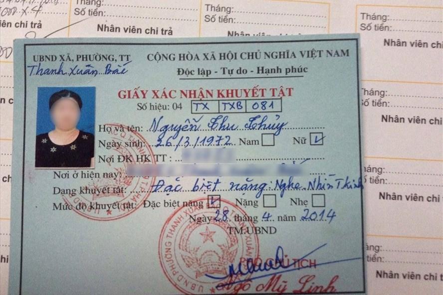 Giấy xác nhận người khuyết tật đặc biệt nặng của chị Nguyễn Thu Thủy.