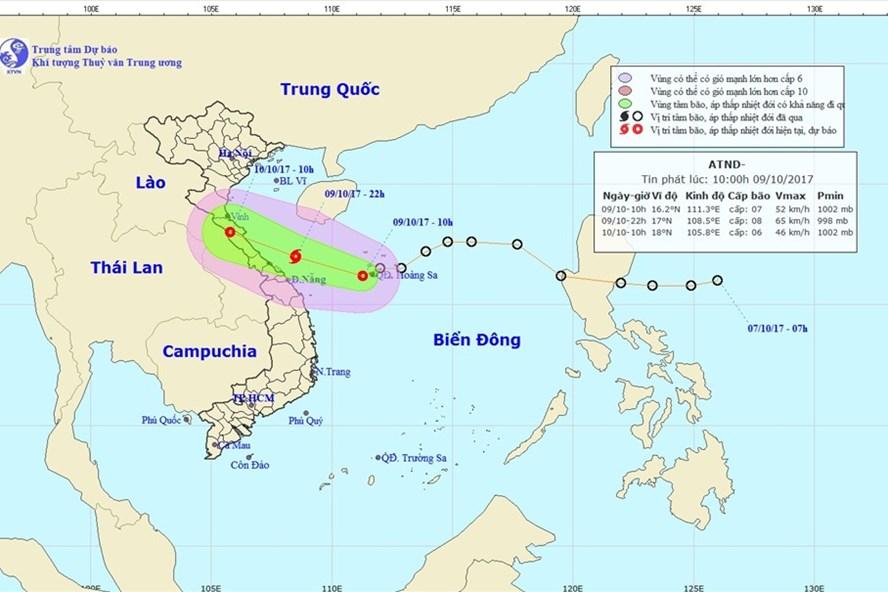 Hướng đi của áp thấp nhiệt đới đang mạnh lên thành bão. Ảnh: NCHMF