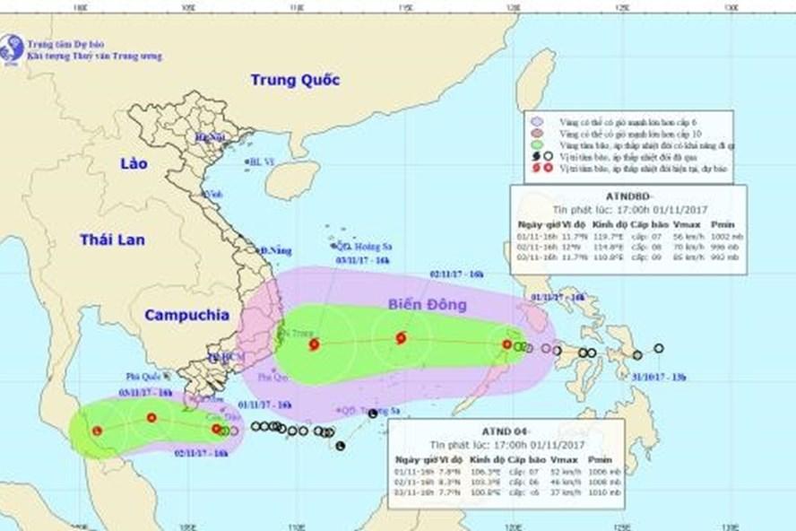Vị trí và hướng đi của 2 áp thấp nhiệt đới chiều 1.11.2017. Ảnh: NCHMF