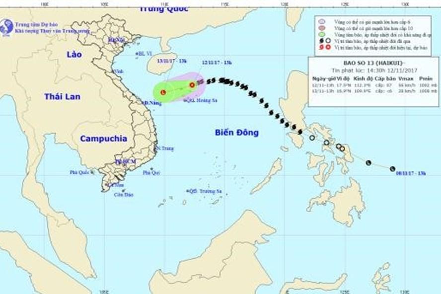 Vị trí và hướng đi của bão số 13. Ảnh: NCHMF