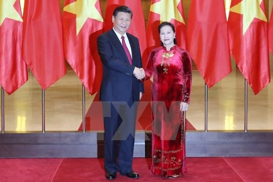 Chủ tịch Quốc hội Nguyễn Thị Kim Ngân hội kiến với Tổng Bí thư, Chủ tịch Trung Quốc Tập Cận Bình. Ảnh: TTXVN