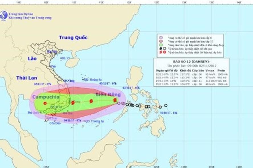 Vị trí và hướng đi của cơn bão  số 2 - bão Damrey. Ảnh: NCHMF