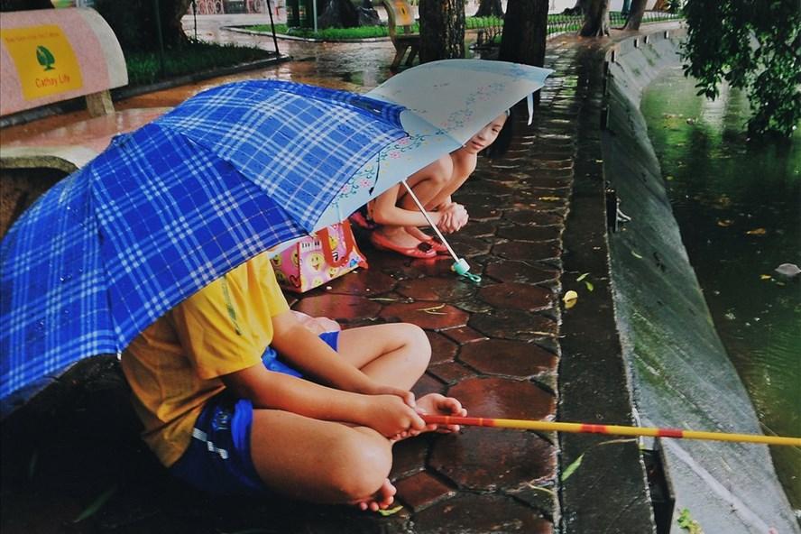 Câu cá trời mưa.