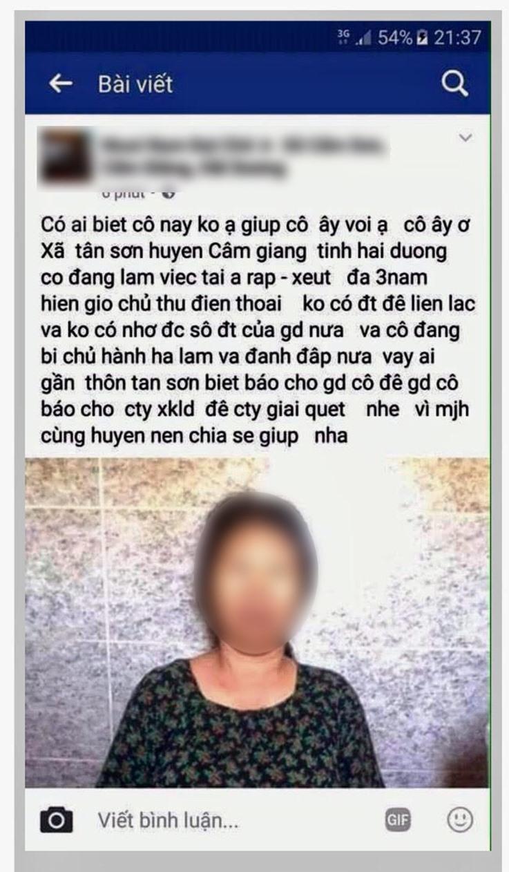 """Thông tin """"kêu cứu"""" do một đồng hương của bà Phạm Thị Xoa (Cẩm Giàng - Hải Dương) đưa lên mạng. Ảnh: P.V"""