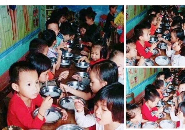 Hình ảnh trẻ mầm non Thạch Ngàn ăn miến phở chan với nước trắng. ảnh: Facebook
