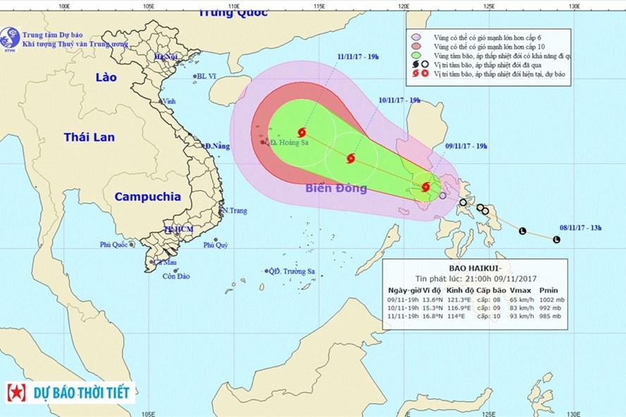 Vị trí và hướng đi bão số 13 Haikui tối 9.11. Ảnh: NCHMF