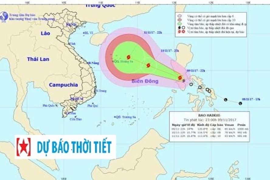 Vị trí, hướng đi của bão số 13 Haikui. Ảnh: NCHMF