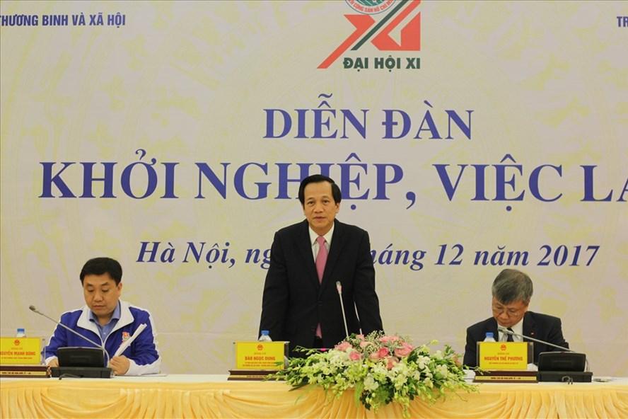 """Bộ LĐTBXH và Đoàn TNCS Hồ Chí Minh đã tổ chức Diễn đàn đối thoại """"Khởi nghiệp, việc làm""""."""