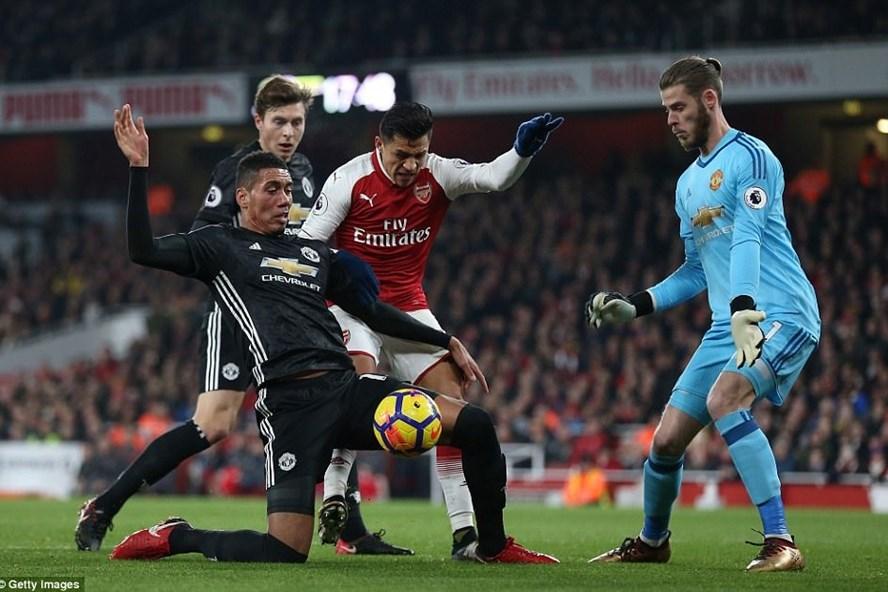 De Gea và các hậu vệ Man United (áo đen) đã có một trận đấu vất vả tại Emirates. Ảnh: Getty Images.