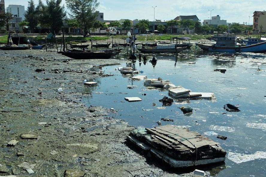 Mỗi ngày âu thuyền Thọ Quang đón hơn 700 lượt tàu thuyền, sự quá tải đã khiến nơi này ô nhiễm kéo dài. Ảnh: MỸ LINH