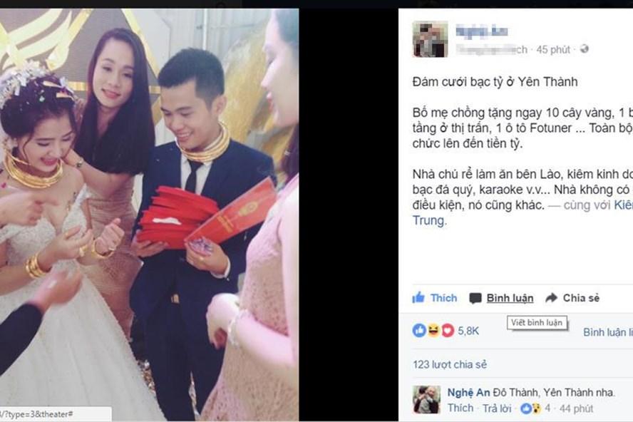 Cô dâu chú rể người đeo đầy vàng, tay cầm sổ đỏ tại buổi cưới (ảnh facebook)