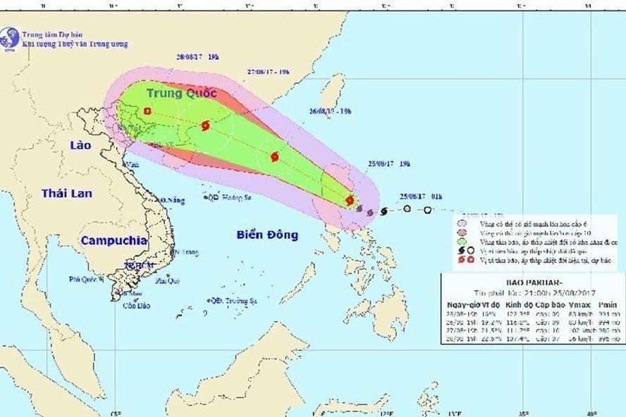 Hướng đi của bão số 7. Ảnh: Trung tâm Khí tượng Thủy văn trung ương.