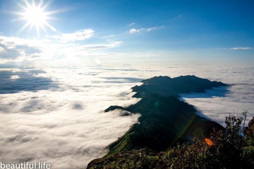 Đỉnh núi bồng bềnh trong mây. Ảnh. Long Hoàng