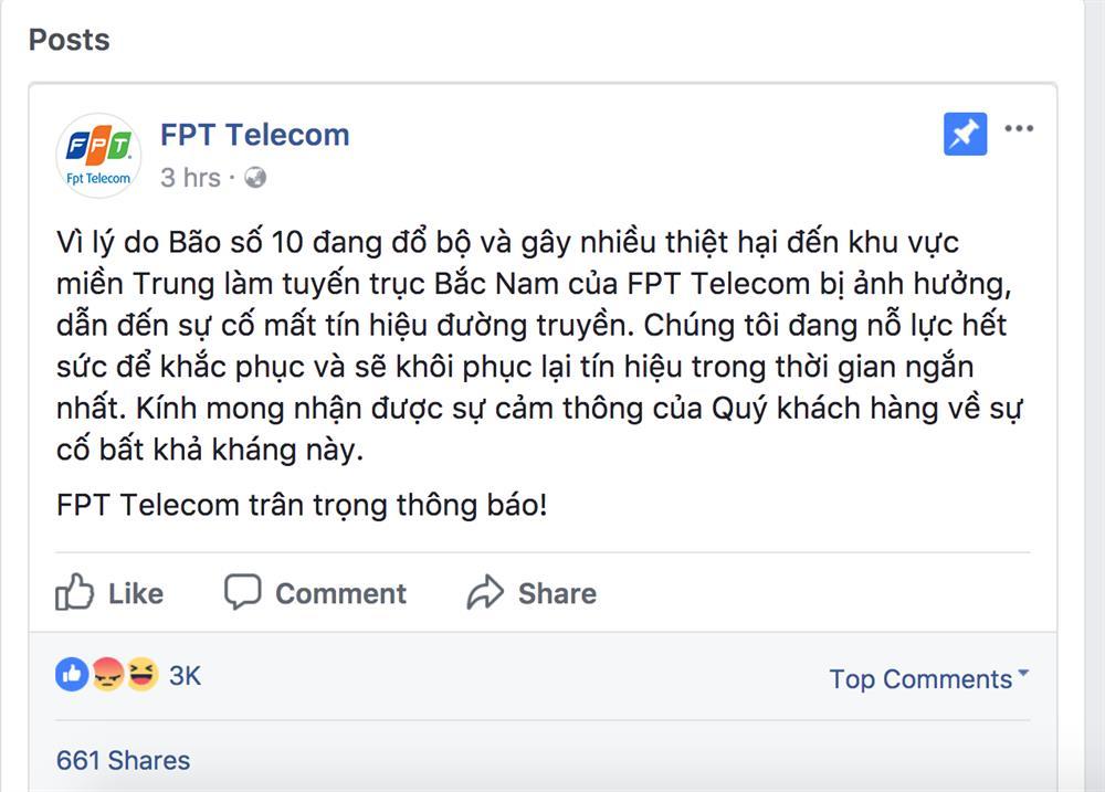 Lời giải thích của FPT đăng tải trên Facebook