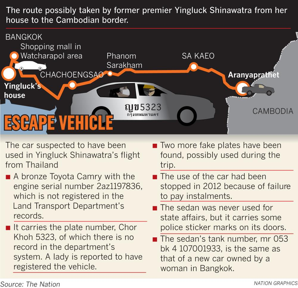 Lộ trình chạy trốn Bangkok tới huyện Aranyaprathet, tỉnh Sa Kaeo của bà Yingluck. Ảnh: The Nation.