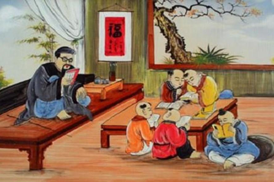 Một lớp học chữ Nho xưa. Tranh tư liệu