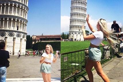 Muôn kiểu tạo dáng với tháp nghiêng Pisa