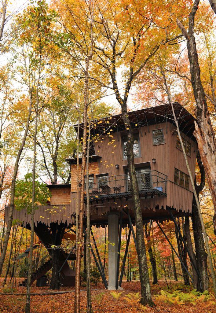 Ngôi nhà trên cây The Treehouse tại Winvian Farm, Mỹ là nơi ẩn náu bí mật tuyệt vời cao hơn 11 mét so với mặt đất. Bên trong ngôi nhà là cấu trúc hai tầng có một giường cỡ lớn, lò sưởi, vòi sen và thậm chí cả bể sục.