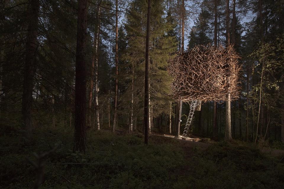 """Nhà """"tổ chim"""", Thụy Điển trông giống một chiếc tổ chim khổng lồ khi ngoại thất được bao phủ bởi các cành cây ngụy trang hệt những chiếc tổ chim tự nhiên. Bên trong nội thất bằng gỗ có 1 giường đôi và 2 giường đơn, phòng tắm và phòng xông hơi được bố trí ở các tòa nhà gần đó."""