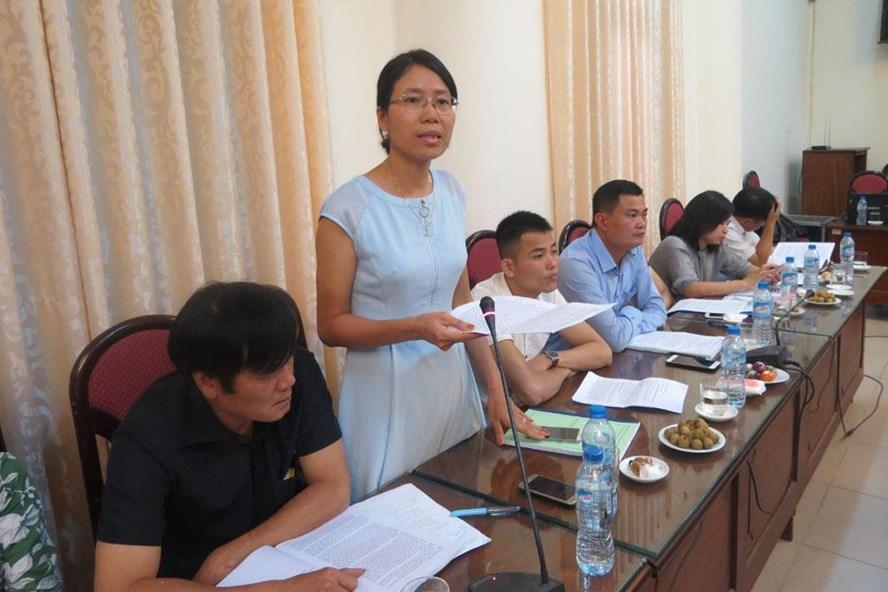 Bà Phạm Thị Bích Hải - Chủ tịch CĐ Cty TNHH TOTO Việt Nam - phát biểu tại hội thảo tổ chức ngày 3.8 tại Hà Nội. Ảnh: X.T