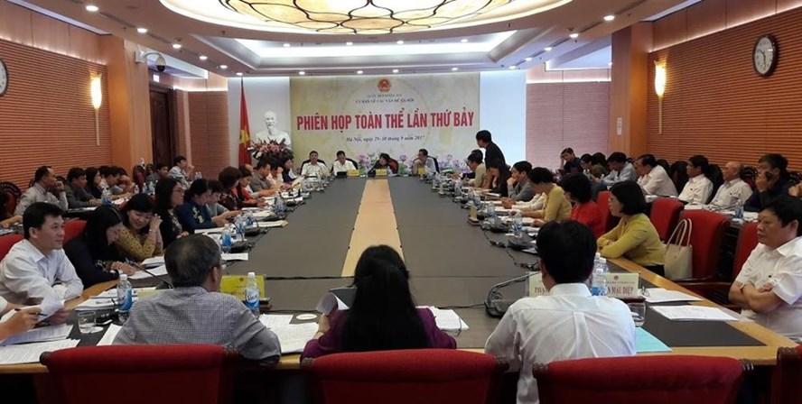 Toàn cảnh phiên họp thứ 7 của Ủy ban các vấn đề xã hội của Quốc hội sáng 29.9 (Ảnh: Thùy Linh)
