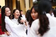 Nữ sinh trường Kim Liên rạng rỡ ngày khai giảng