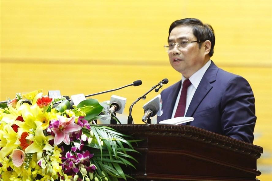 Ông Phạm Minh Chính phát biểu tại hội nghị