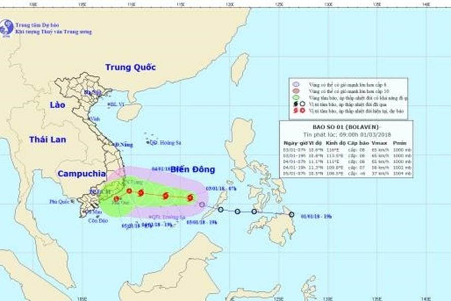 Vị trí và hướng đi của bão số 1 Bolaven. Ảnh: NCHMF
