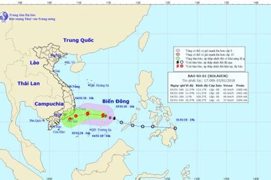 Dự báo từ chiều tối 4.1, bão số 1 suy yếu thành ATNĐ. Ảnh: NCHMF