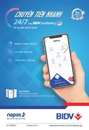 """Thêm ưu đãi cho khách hàng tham gia chương trình  """"Chuyển tiền nhanh 24/7 cùng BIDV SmartBanking"""""""