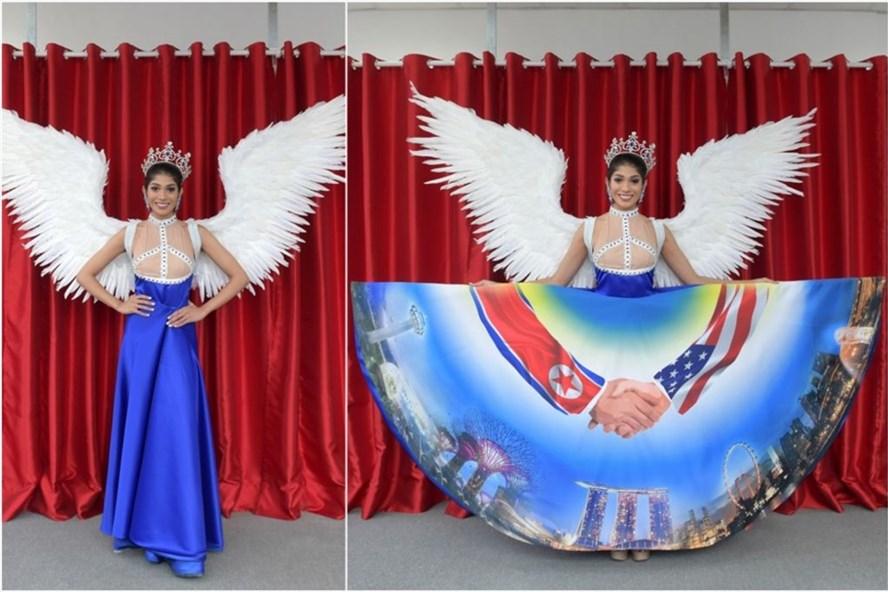 Trang phục Hoa hậu Singapore 2018 lấy cảm hứng từ thượng đỉnh Trump-Kim. Ảnh: ST.