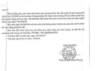 Văn bản giả mạo chữ ký Hiệu trưởng Mai Thanh Phong và con dấu của Đại học Bách khoa TP HCM. Ảnh: Đại học Bách khoa TP HCM.