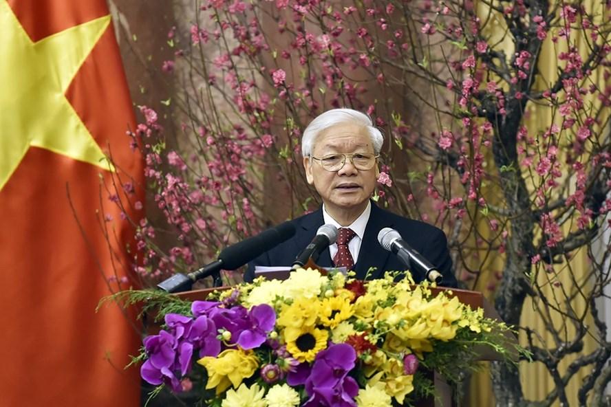 Tổng Bí thư Nguyễn Phú Trọng phát biểu tại buổi gặp mặt. Ảnh: VGP/Nhật Bắc