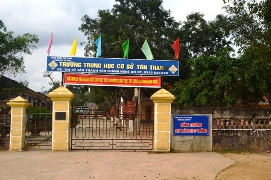 Trường THCS Tân Thành (Nghệ An), nơi xảy ra vụ việc GV bị đánh gãy sống mũi do tát HS. Ảnh: VH