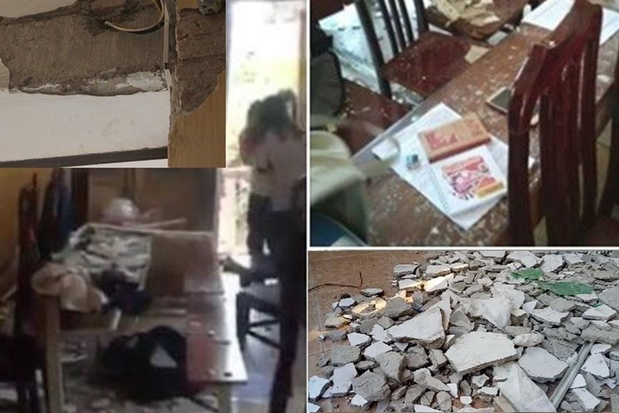 Hiện trường vụ rơi vữa trần lớp học xuống đầu học sinh ở Trường THPT Trần Nhân Tông.