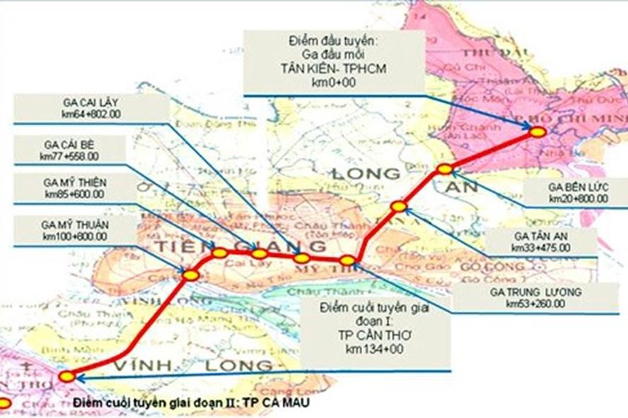 Sơ đồ hướng tuyến đường sắt TP HCM - Cần Thơ trước đây. Ảnh: PV