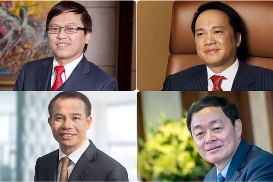 Từ trên xuống và trái sang: Ông Nguyễn Đức Vinh - TGĐ VPBank, ông Hồ Hùng Anh - Chủ tịch HĐQT Techcombank, ông Đặng Khắc Vỹ - Chủ tịch HĐQT VIB, ông Lê Hữu Đức - Chủ tịch HĐQT MB.