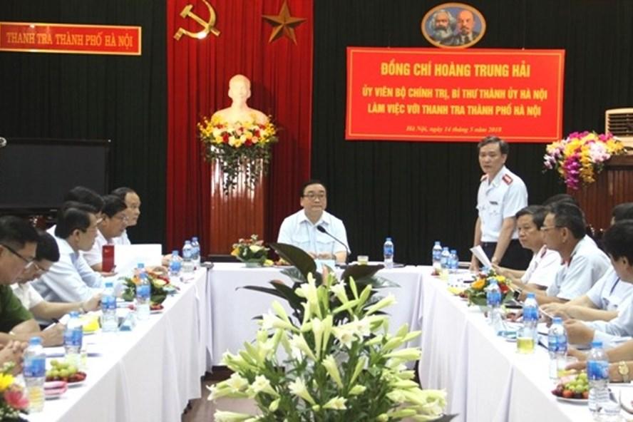 Bí thư Thành ủy Hà Nội Hoàng Trung Hải làm việc với Thanh tra thành phố. Ảnh HNP