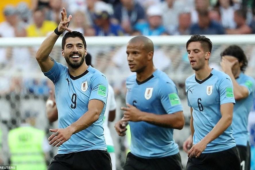 Suarez có bàn thắng thứ 6 của anh tại các VCK World Cup. Ảnh: Dailymail
