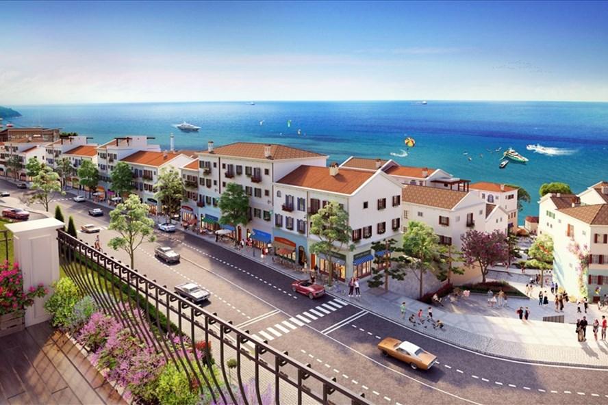 Ngay khu vực chân cáp treo Hòn Thơm sẽ xuất hiện những shophouse độc đáo mang phong cách Địa Trung Hải.