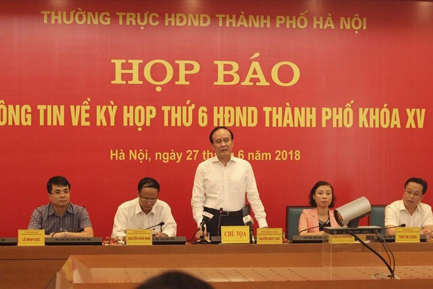 Chiều 27.6, HĐND thành phố Hà Nội thông tin báo chí trước kỳ họp thứ 6. Ảnh Trần Vương