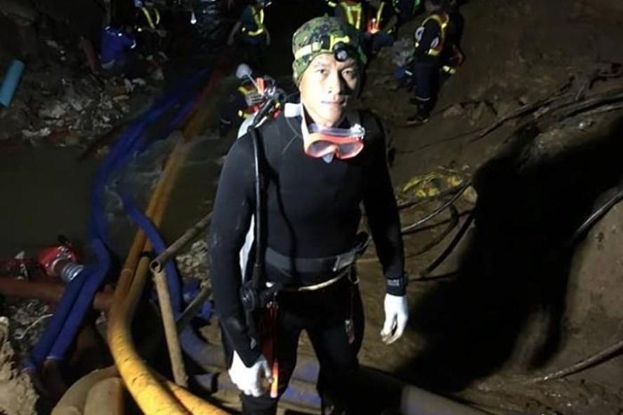 Thợ lặn Saman Gunan thời điểm tại hiện trường cuộc giải cứu ở Tham Luang.