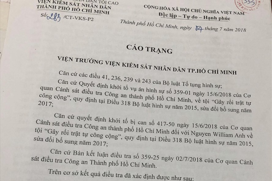 Cáo trạng truy tố Nguyen William Anh.
