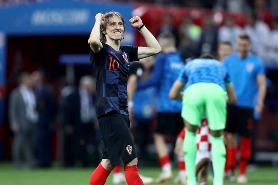 Modric ăn mừng sau khi Croatia lọt vào chung kết World Cup 2018. Ảnh: FIFA.