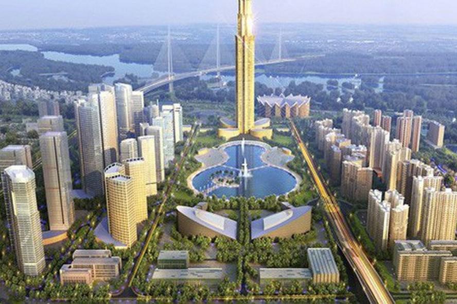 Phối cảnh dự án thành phố thông minh do Nhật Bản đầu tư tại Đông Anh, Hà Nội. Ảnh: PV