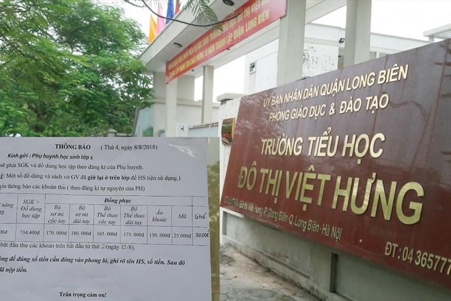 """Chưa khai giảng năm học mới, phụ huynh Trường  Tiểu học Đô thị Việt Hưng đã nhận được """"trát"""" thông báo đóng nhiều khoản tiền."""