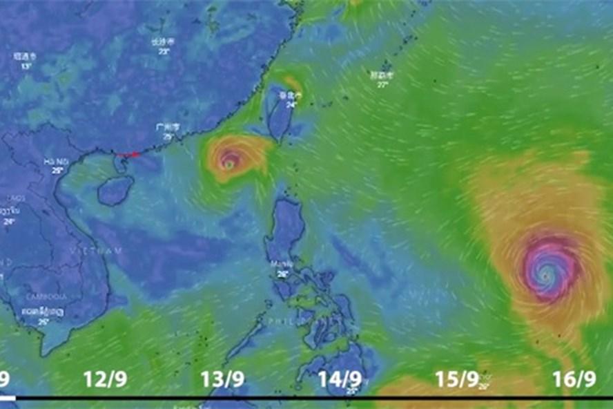 Đường đi của áp thấp nhiệt đới và siêu bão Mangkhut. (Ảnh:Zing)